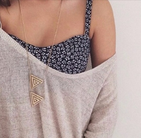 triangle necklace sweater black blouse floral dress top white camel summer outfits outfits fashion stylish cute