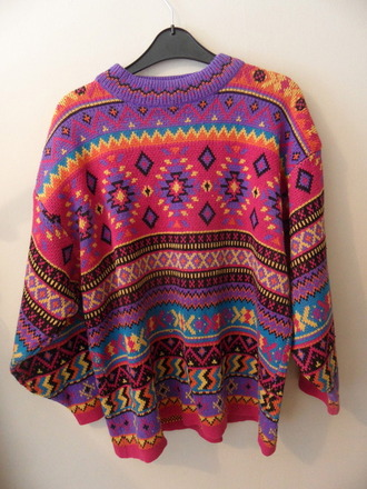 sweater aztec tumblr cute cute sweaters tumblr clothes tumblr fashion aztec sweater colorful patterns purple yellow pink orange diamonds stripes black xo zig zag zig zag sweater multicolor