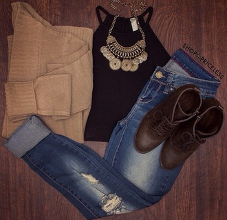 cardigan sweater camel coat black t-shirt necklace ripped jeans boots outfit