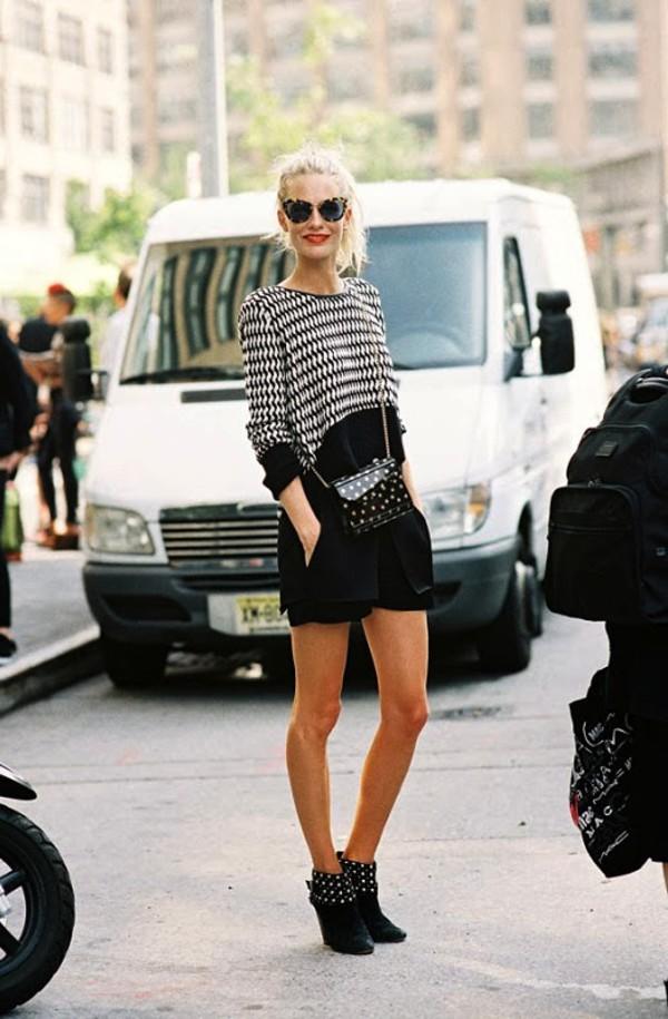 le fashion image sunglasses make-up bag sweater shorts top