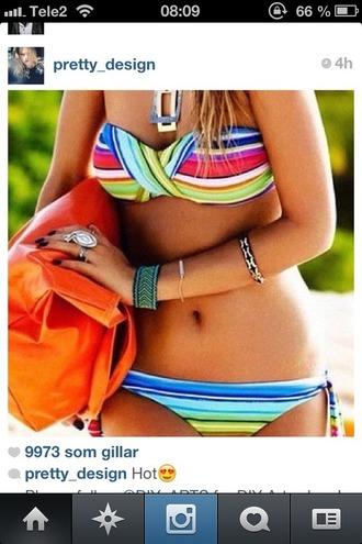 swimwear bikini stripes bandeu rainbow rainbow bikini multicolor