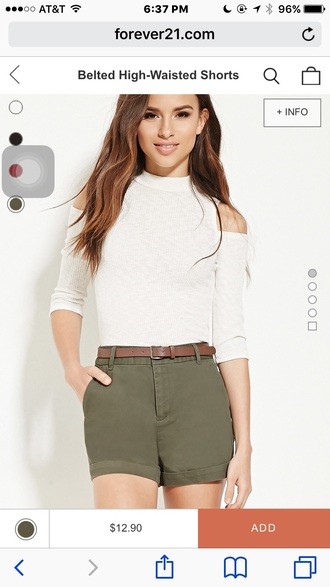 shorts forever 21 olive green crop tops