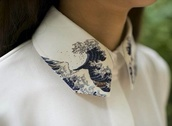 blouse,tumblr,clothes,white,collared shirts,button up,waves,embroidered,high collar,printed art,button up shirt,shirt,japan,holiday gift,japanese,wave,art,print,collar,painted collar,white blouse,hipster blouse,hipster collar,waves pattern,boyish,blue,hipster,love,hokusai,cute,skirt,japanese wave