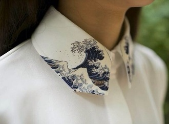 shirt japan holiday gift blouse collared shirts button up wave japanese art print collar painted collar white blouse hipster blouse hipster collar waves pattern boyish collar shirt design tailoring tumblr waves white blue hipster style girl fashion collared collared shirt ocean summer winter outfits sheer top edgy funny pretty chic clothes high collar printed art chiffon button up shirt embroidered love hokusai cute