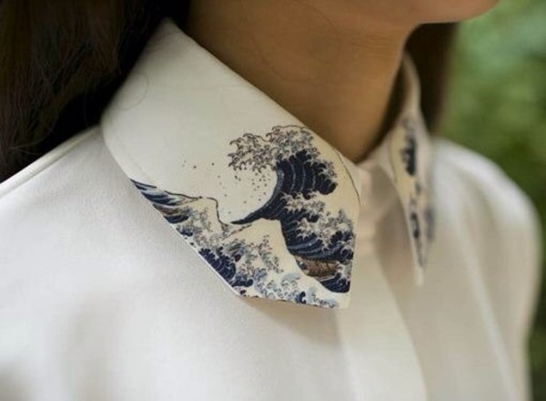 blouse tumblr clothes white collared shirts button up waves embroidered high collar printed art button up shirt shirt japan holiday gift japanese wave art print collar painted collar white blouse hipster blouse hipster collar waves pattern boyish blue hipster love hokusai cute skirt japanese wave