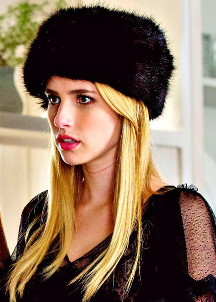 hat faux fur emma roberts fur hat black fur hat scream queens