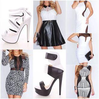 dress white dress little black dress bodycon high heels black black leather skirt leopard print
