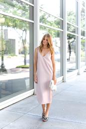 dress,tumblr,midi dress,pink dress,slip dress,slit dress,sandals,mules,bag,clutch,shoes