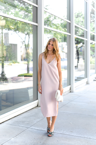 dress tumblr midi dress pink dress slip dress slit dress sandals mules bag clutch shoes