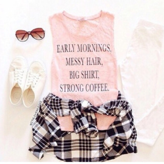 shorts tank top pink dress glasses sunglasses style shirt t-shirt belt top pink top pink coffee cute top mornings jacket plaid jacket waist jacket muscle tee