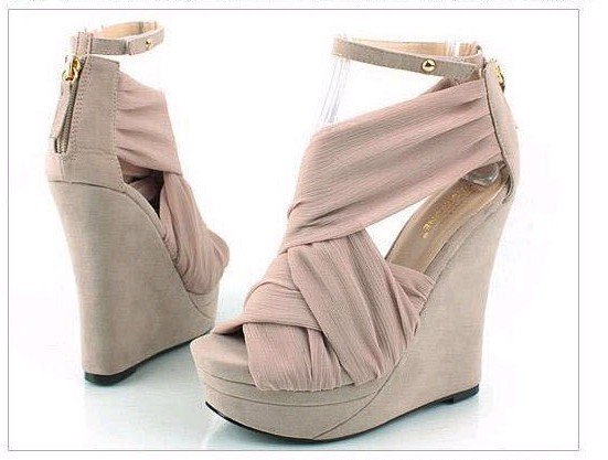 Fashion sexy lady wedge strappy silk platform high heel buckle shoes hot sell