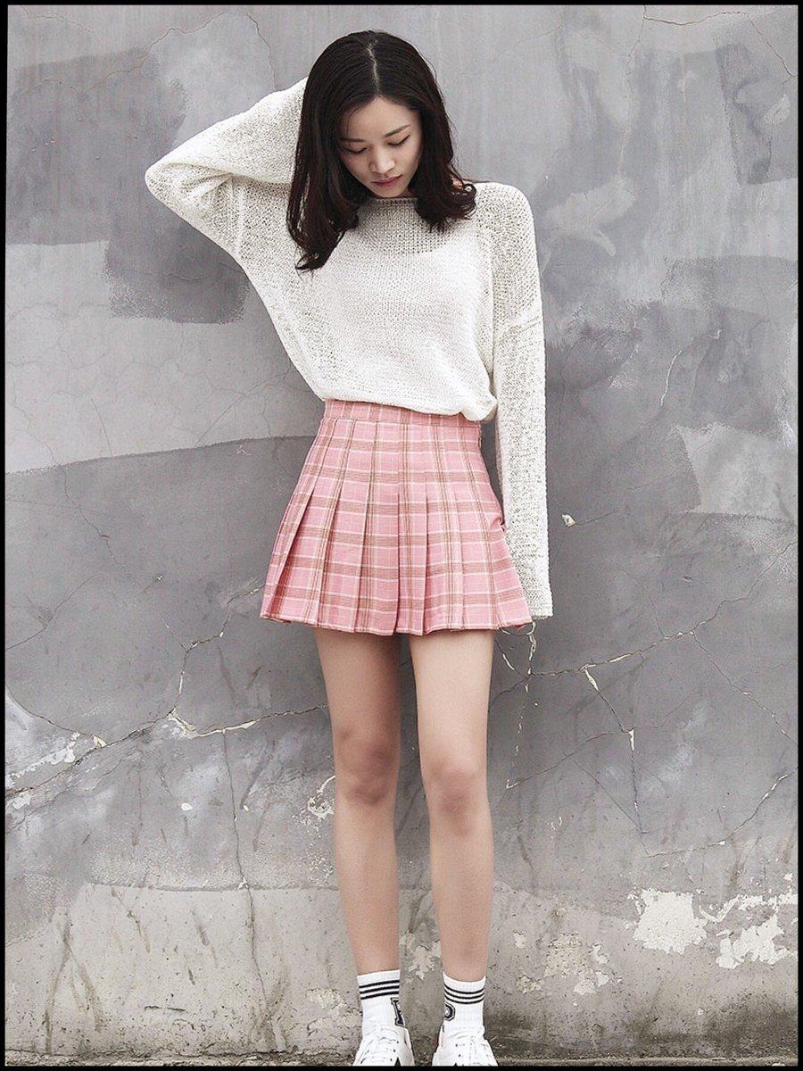 Kawaii Plaid Pleated Tennis Skirt