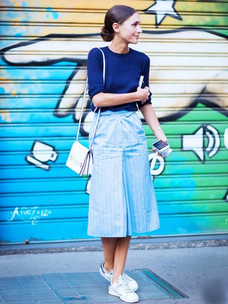 495e05b7a top, black ribbed top, blue top, skirt, midi skirt, striped skirt ...