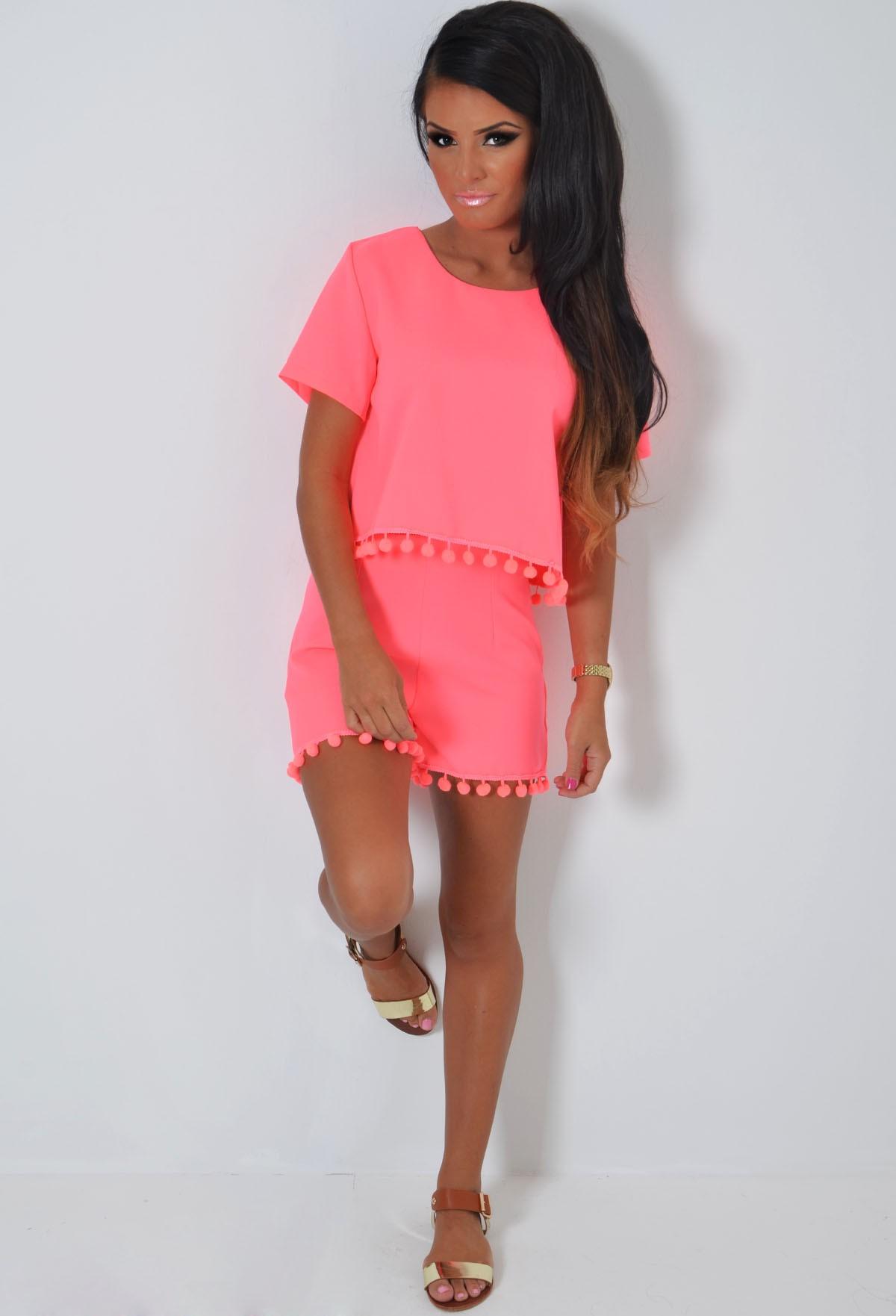 Peyton Neon Pink Pom Pom Shorts | Pink Boutique
