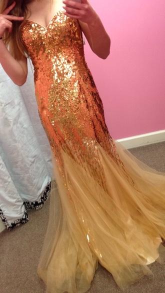dress gold sequins gold dress mermaid prom dress prom dress strapless dress