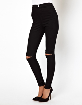 ASOS | ASOS Zip Knee Jeggings in Clean Black at ASOS