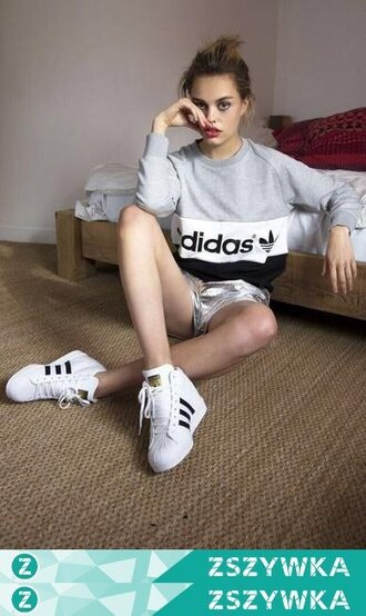 blouse clothes shoes grey sweatshirt adidas adidas shoes white shoes girl
