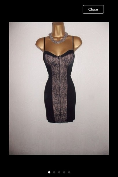 dress miss selfridge black cream bodycon