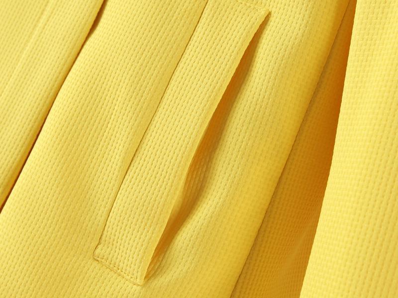 Yellow Lapel Long Sleeve Pockets Outerwear - Sheinside.com