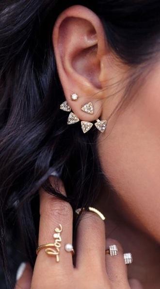 jewels earrings ear piercings statement earrings jewelry diamonds gold gold jewelry triangle ear jacket ear jackets ear jacket earrings bling