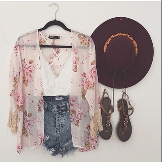 cardigan shorts pink cute kimono white top shirt