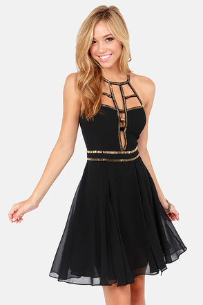 Modern Goddess Beaded Black Dress