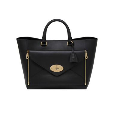 Willow Tote in Black Silky Classic Calf With Soft Gold | Women's Bags | Mulberry