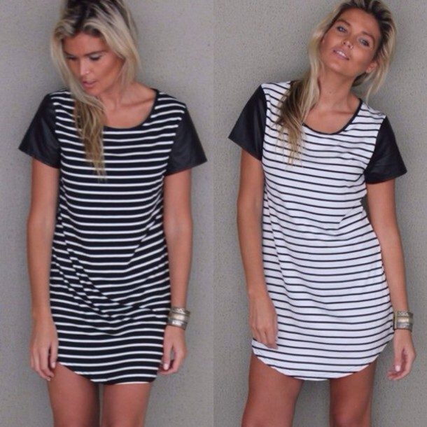 dress stripes wet look shoulder black and white dress