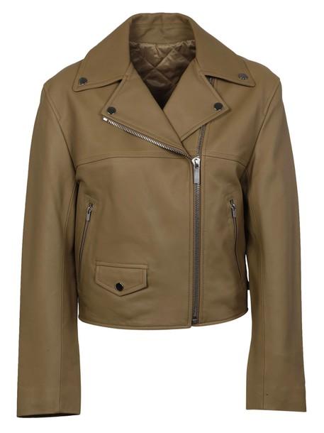 Helmut Lang jacket biker jacket cropped beige