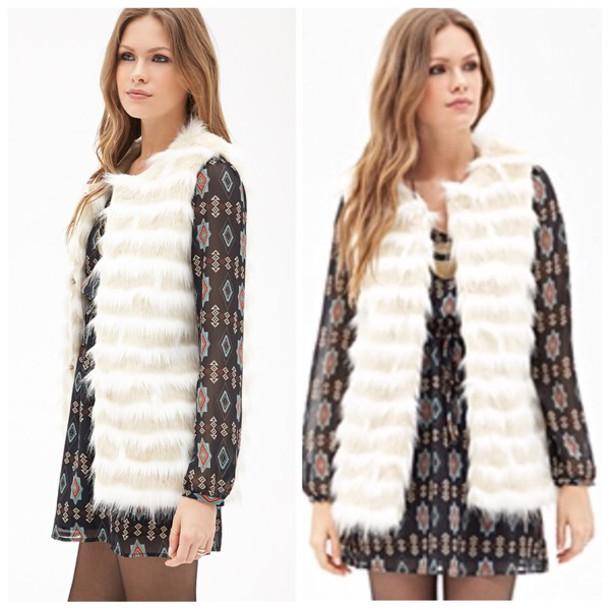 jacket white fur vest faux fur vest