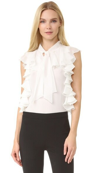 top sleeveless ruffle white