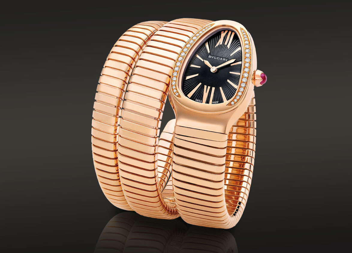 Bulgari serpenti quartz watch with an 18kt pink gold case set with round brillant