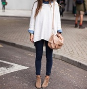 sweater,white sweater,oversized sweater,skinny jeans,cute,girly,cute sweaters,fall outfits,bag,jeans,jumper,fashion,shoes,shirt,cream sweater,denim shirt,long sleeves,loose fit sweater,knitted sweater,collared shirts,cardigan,white oversized sweater,top