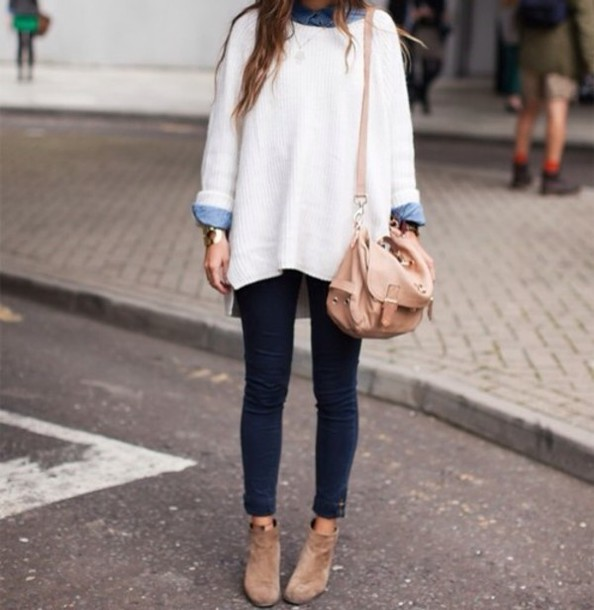 sweater white sweater oversized sweater skinny jeans cute girly cute sweaters fall outfits bag jeans jumper fashion shoes shirt cream sweater denim shirt long sleeves loose fit sweater knitted sweater collared shirts cardigan white oversized sweater top