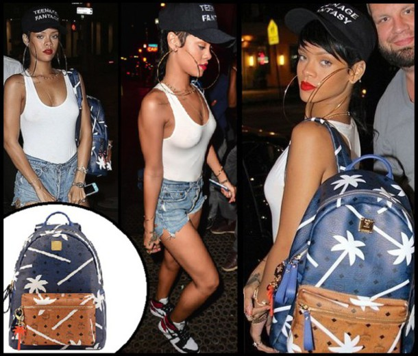 bag rihanna backpack mcm palm tree print leather backpack