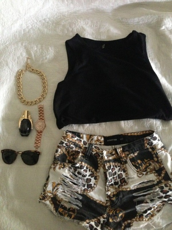 shorts gold pattern jeans denim shorts shirt jewels nail polish sunglasses beautiful outft black cool dope awsome leopard print white brown casual pretty pattern tank top