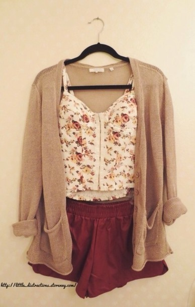 shirt bralette bralette white floral burgundy shorts skirt cute winter outfits fall outfits sweater shoes brown cardigan