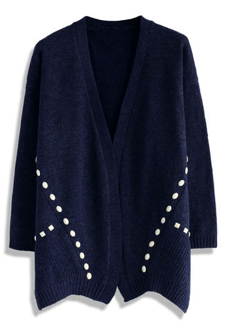 cardigan beads decorated knitted cardigan in navy chicwish navy knitted cardigan