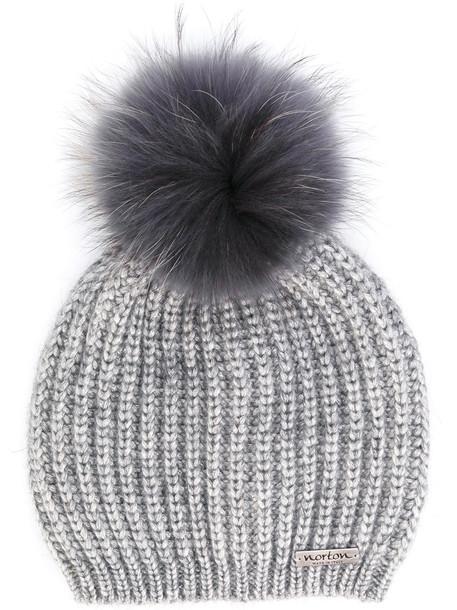 beanie pom pom beanie grey hat