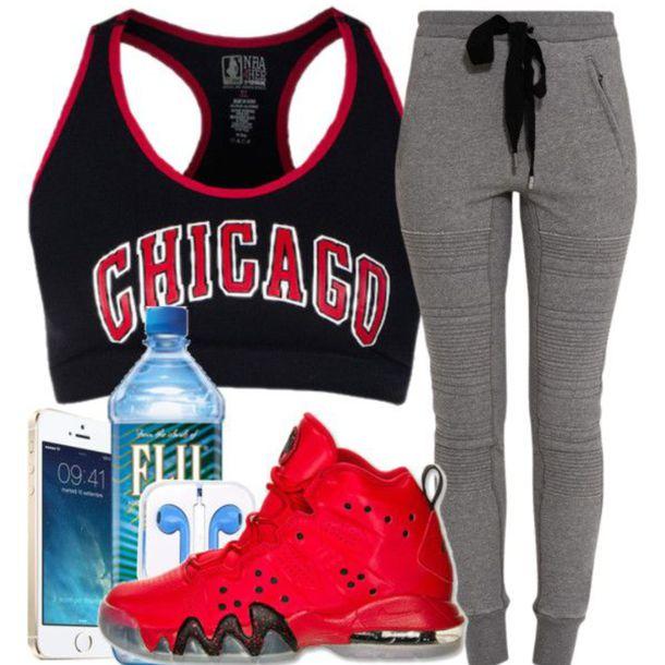 tank top chicago bulls sports bra joggers pants fiji water pants