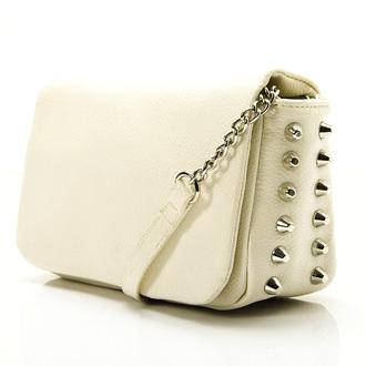 white bag bag handbag party bag rivet bag