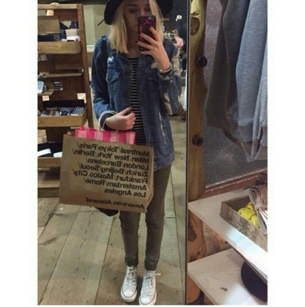 d4eee877ee jacket denim jacket striped top jeans khaki pants white converse fedora hat  style style stylish trendy