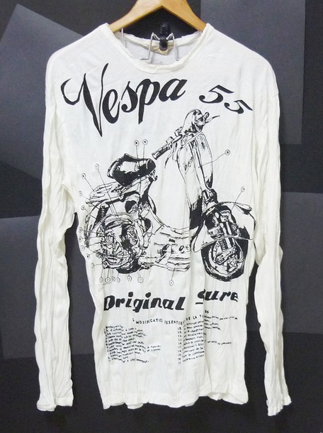 T shirt wrinkled tshirt vespa tshirt long sleeve shirt for Women s crew t shirts