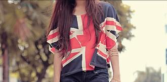 t-shirt blue white red tshirt. flag ukflag