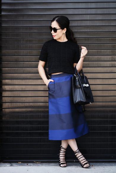 striped skirt blue skirt top hallie daily blogger bag jewels sunglasses midi skirt navy black heels