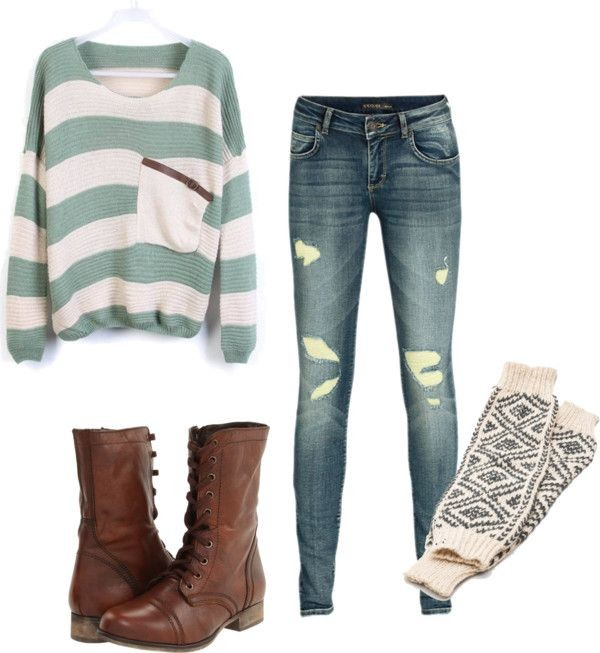 sweater oversized sweater jeans combat boots