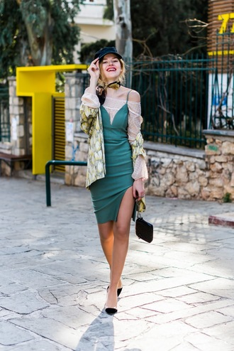 m&m fashion bites blogger jacket dress blouse scarf green dress pumps spring outfits spring dress