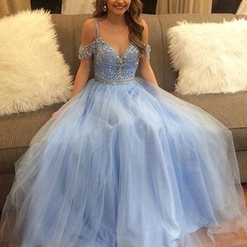 Light Blue Off Shoulder Tulle Prom Dress, from jbydress | Prom