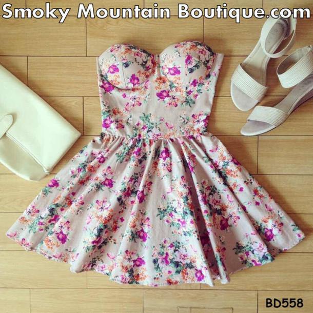 dress summer dress bustier dress floral dress wheretoget