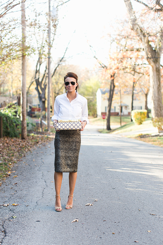 one little momma blogger shirt skirt shoes jewels sunglasses midi skirt white shirt sandals high heel sandals nude heels